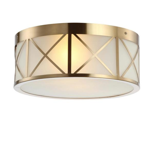 Cadence 15 in. Brass Gold Drum Metal/Glass Flush Mount