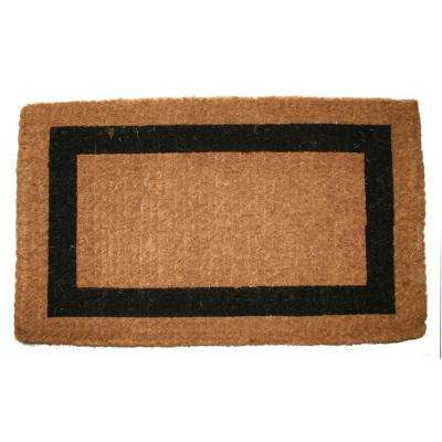 Traditional Coir Mat, Single Border, 36 in. x 22 in. Natural Coconut Husk Doormat