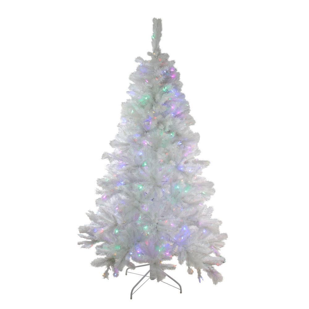 7 5 Foot Artificial Christmas Tree Multi Colored Lights: 7.5 Ft. Pre-Lit Single Plug Medium White Iridescent Pine