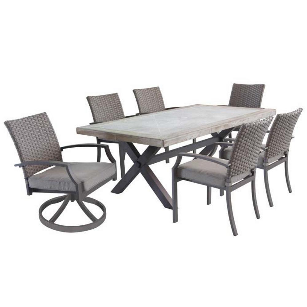 Hudson 7-Piece Aluminum Outdoor Dining Set with Tan Cushions