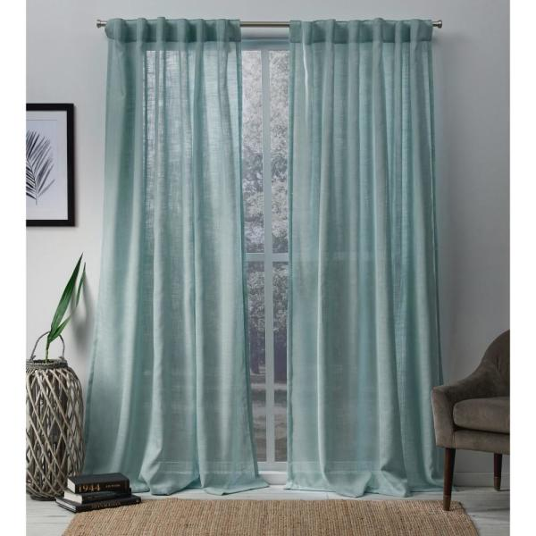 Bella 54 in. W x 84 in. L Sheer Hidden Tab Top Curtain Panel in Seafoam (2 Panels)
