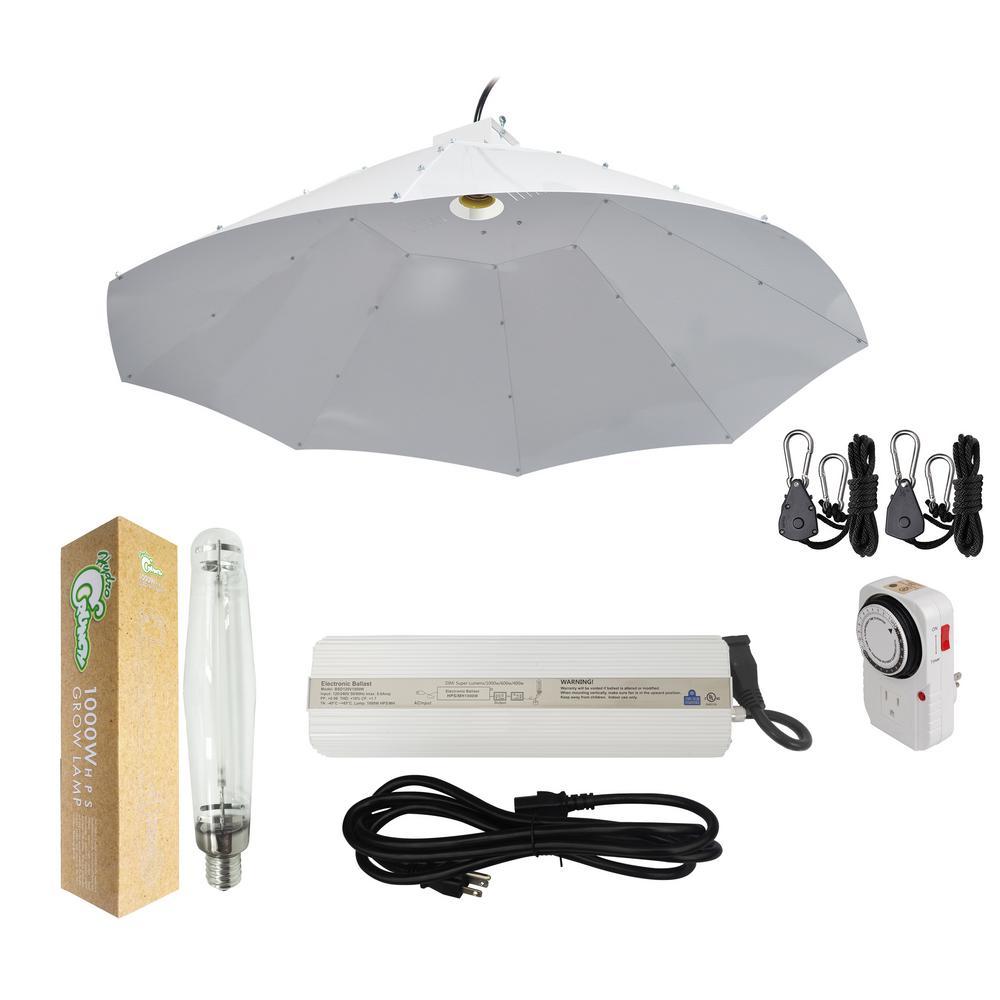 1000-Watt HPS Grow Light System with 42 in. Parabolic Vertical Umbrella Hood Reflector
