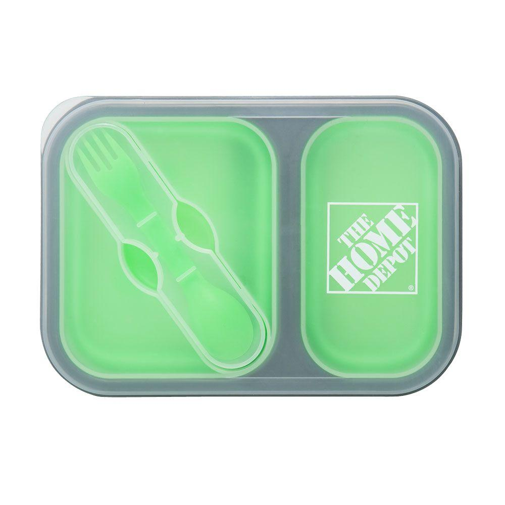the home depot two section food container with dual utensil 1424336 00 the home depot. Black Bedroom Furniture Sets. Home Design Ideas