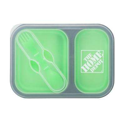 Two Section Food Container with Dual Utensil