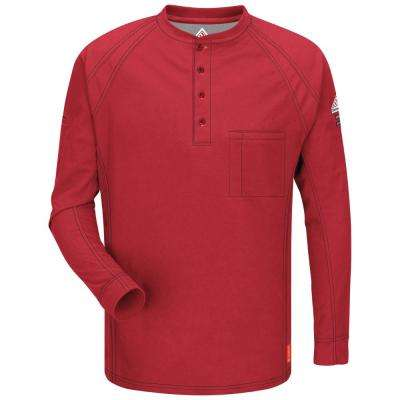 IQ Men's 2X-Large Red Long Sleeve Henley