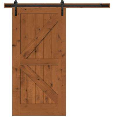 Rustic 2-Panel Stained Knotty Alder Interior Barn Door Slab with Sliding Door Hardware