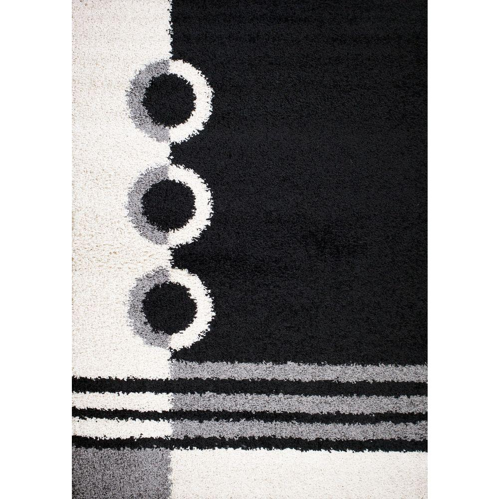 Shaggy Rings Black 5 ft. x 7 ft. Area Rug