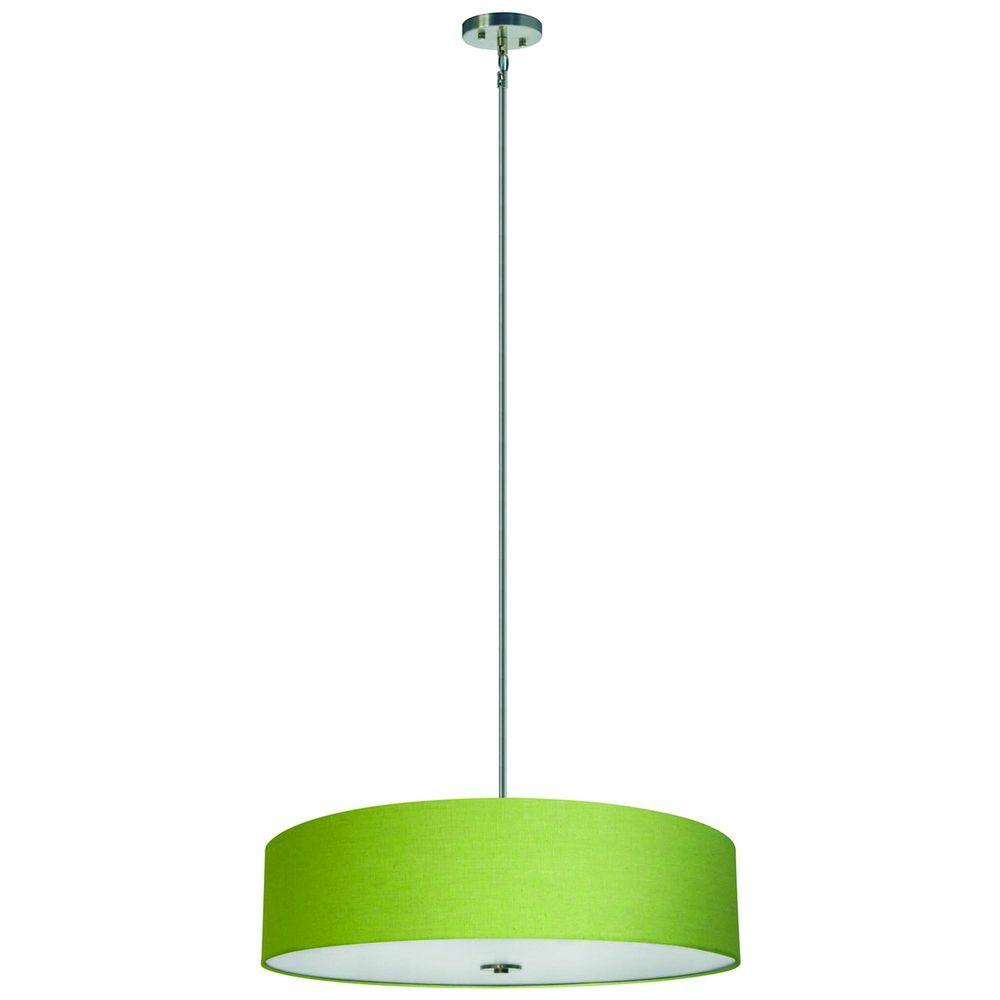 Yosemite Home Decor Lyell Forks Family 5-Light Satin Steel Pendant with Rich Lime Fabric Shade