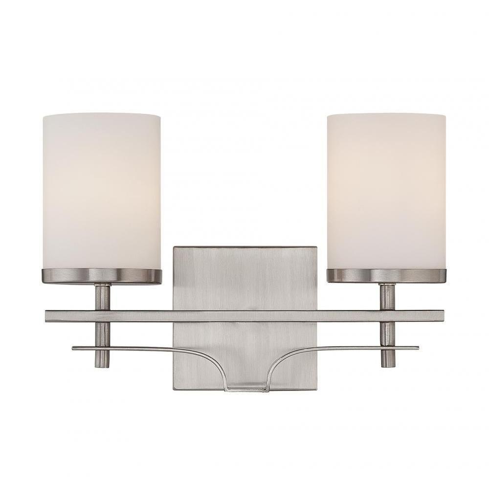 Miles 2-Light Satin Nickel Bath Vanity Light