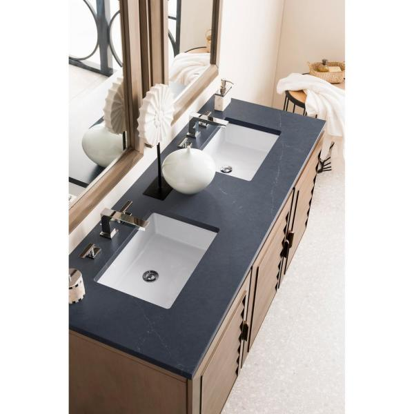 Portland 60 in. W Double Bath Vanity in Whitewashed Walnut with Quartz Vanity Top in Charcoal Soapstone with White Basin