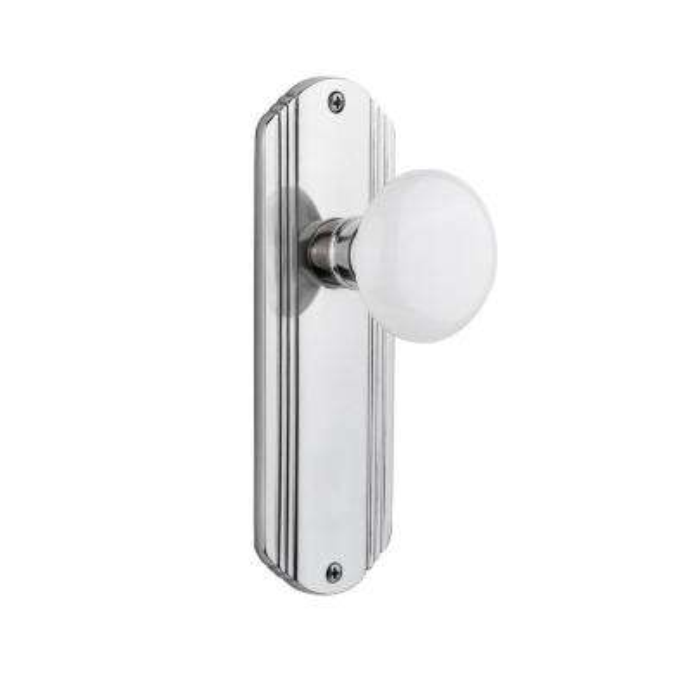 Deco Plate 2-3/8 in. Backset Bright Chrome Privacy White Porcelain Door Knob