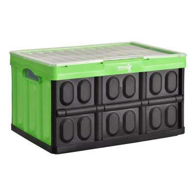 Lovely 46 L Collapsible Storage Crate With Lid In Black/Green