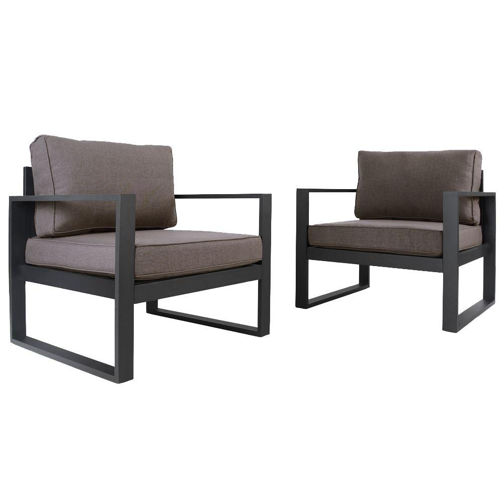 Real Flame 30 in. Baltic Black Aluminum 2-Piece All-Weather Casual Outdoor Patio Seating Set with Gray Cushions