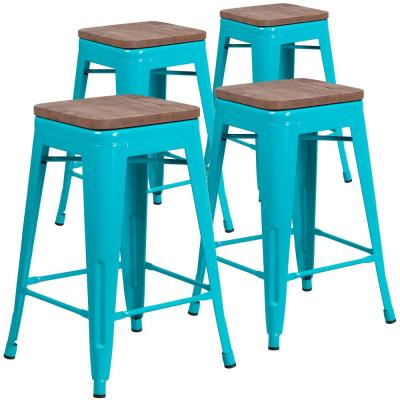 24 in. Crystal Teal-Blue Barstool (Set of 4)