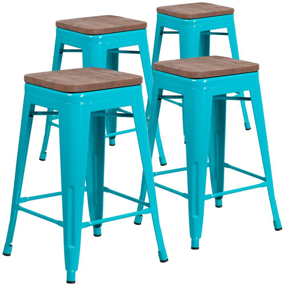 24 in. Crystal Teal-Blue Barstool (Set of 4)