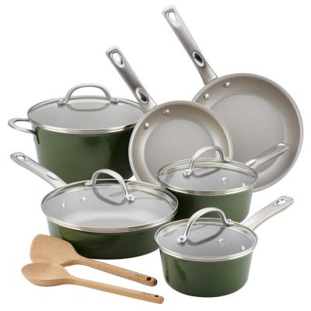 Home Collection 12-Piece Basil Green Porcelain Enamel Nonstick Cookware Set