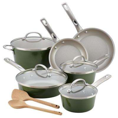 Home Collection 12-Piece Basil Green Porcelain Enamel Nonstick Cookware Set