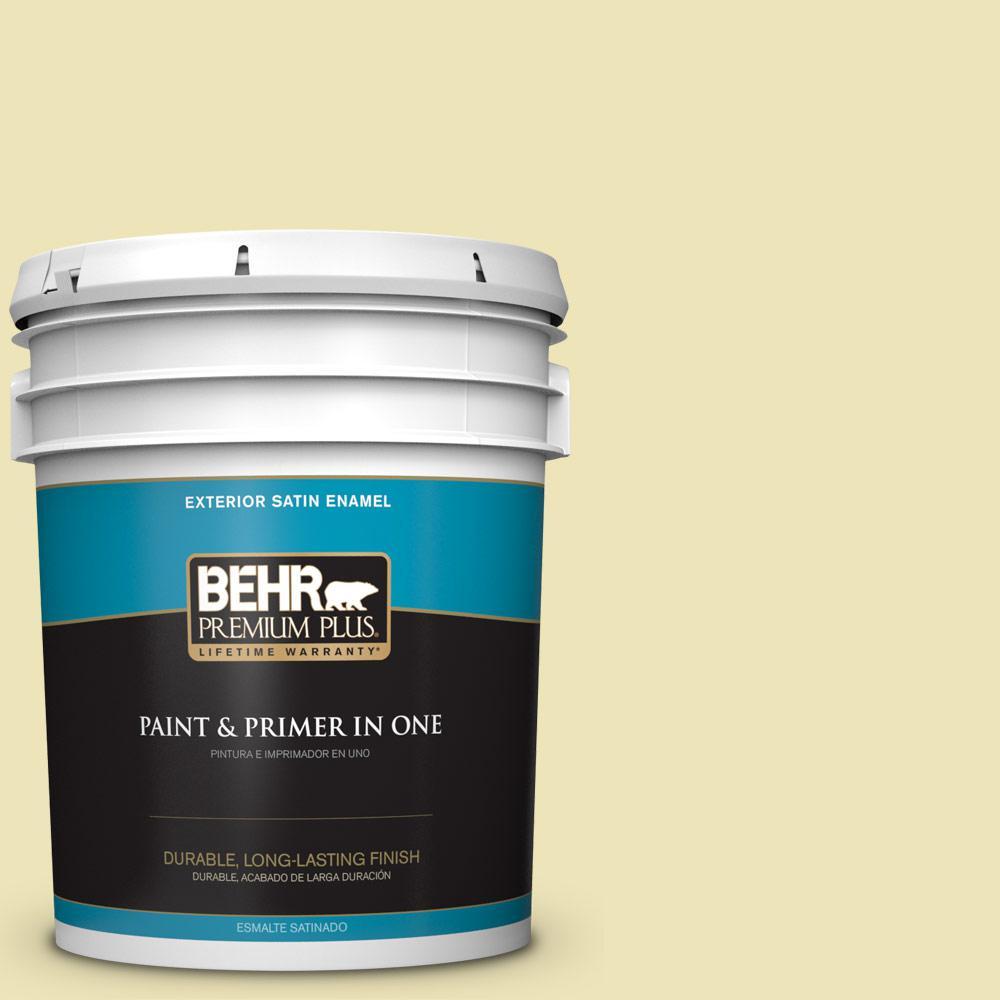 5 gal. #PPU9-13 Yellow Wax Pepper Satin Enamel Exterior Paint