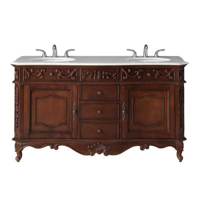 Winslow 60 in. W x 22 in. D Bath Vanity in Antique Cherry with Vanity Top in White Marble with White Basins