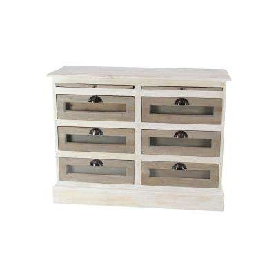 6-Drawer White Wooden Chest with Glass Panels
