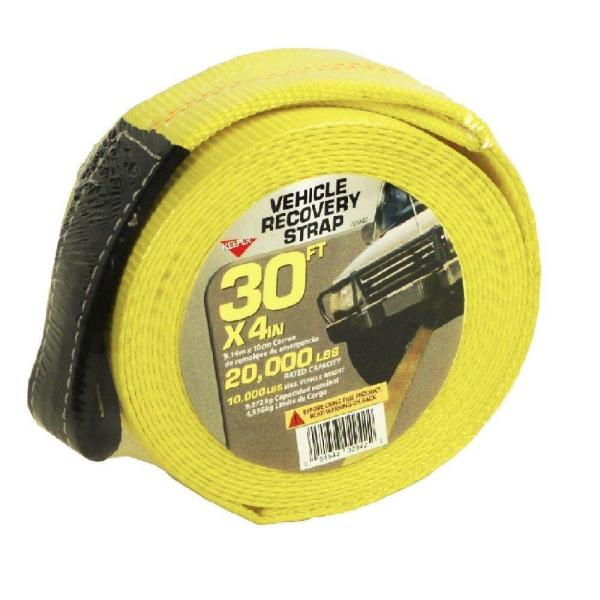 30 ft. x 4 in. x 20,000 lbs. Vehicle Recovery Strap with Protected Loops