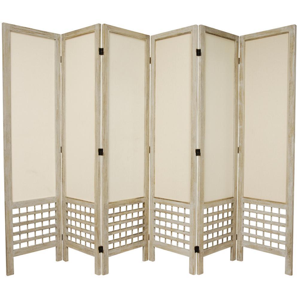5.5 ft. Burnt White Open Muslin 6-Panel Room Divider