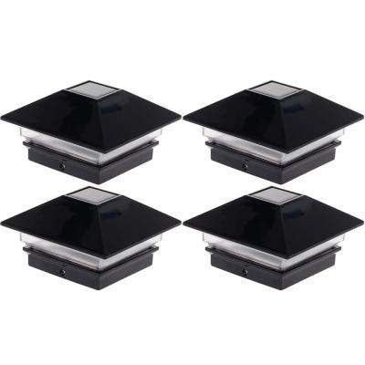 4 in. x 4 in. Solar Powered Integrated LED Black Slim Post Cap Light for Wood Posts (4-Pack)