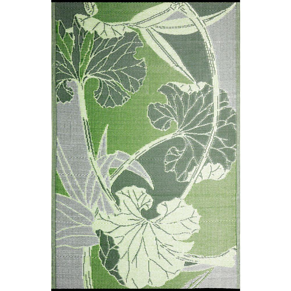 b.b.begonia Blossom Green/Grey 5 ft. x 8 ft. Outdoor Reversible Area Rug