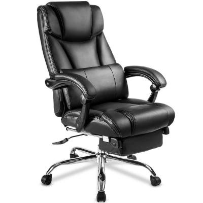 Black Office Chair High quality PU leather/Double Padded/Support Cushion and Footrest