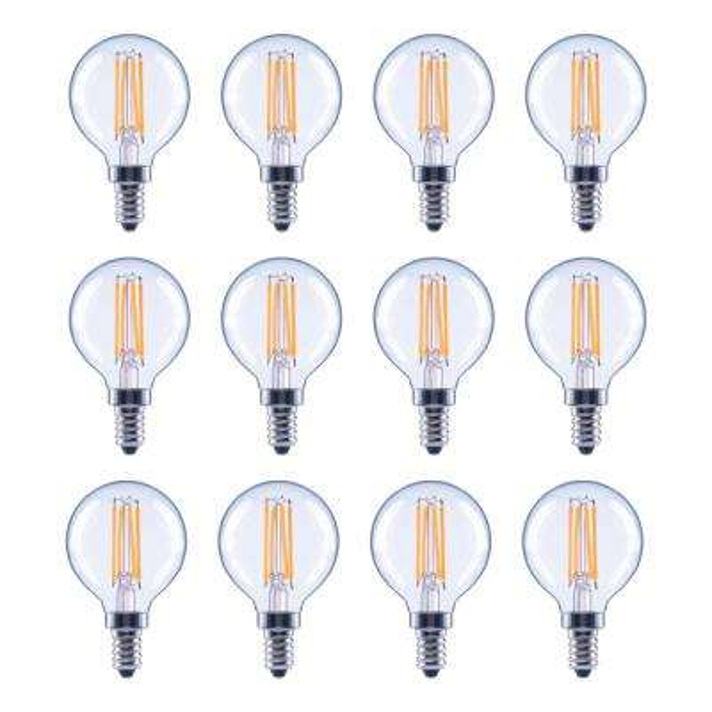 40-Watt Equivalent G16.5 Globe Dimmable Energy Star Clear Glass Filament Vintage LED Light Bulb Soft White (12-Pack)