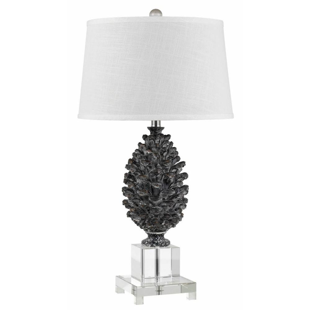 Cal Lighting 30 In Pine Cone Resin Table Lamp With Crystal Base