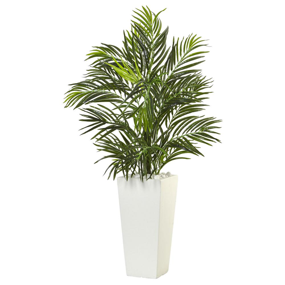 nearly natural indoor 39 in. h areca artificial palm in white square
