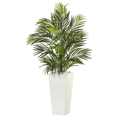 Indoor 39 in. H Areca Artificial Palm in White Square Planter