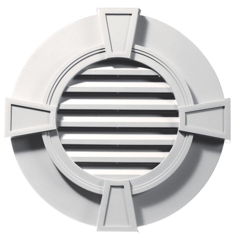 Builders Edge 30 in. Round Gable Vent in Bright White with Keystones