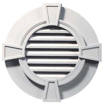 30 in. Round Gable Vent in Bright White with Keystones