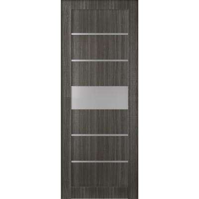 36 in. x 80 in. Siah Gray Oak Frosted Glass 5 Lite Solid Core Wood Composite Interior Door Slab No Bore