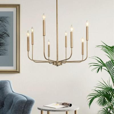 Lill 8-Light Soft Champagne Gold Adjustable Modern Farmhouse Candle Island Chandelier LED Compatible with Swivel Canopy