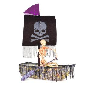 84 in. Pre-Lit LED Pirate Ship and Skeleton