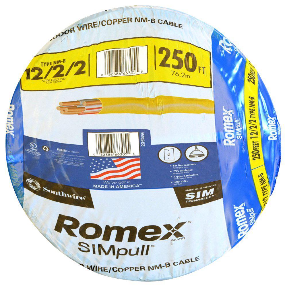 250 ft. 12/2/2 Solid Romex SIMpull CU NM-B W/G Wire