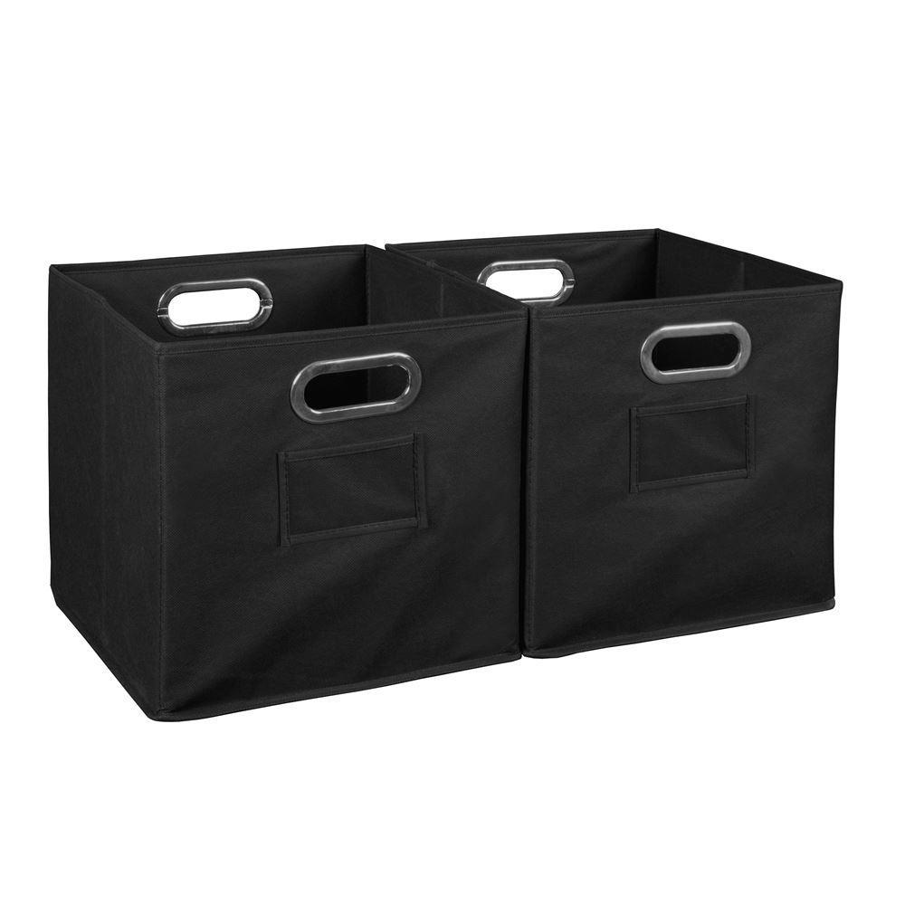 Cheer 12 in. D x  12 in. W x 12 in. H Black Folding Fabric Bin Closet System (2-Pack)