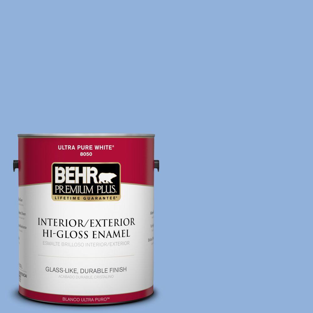 BEHR Premium Plus 1-gal. #580B-5 Cornflower Blue Hi-Gloss Enamel Interior/Exterior Paint