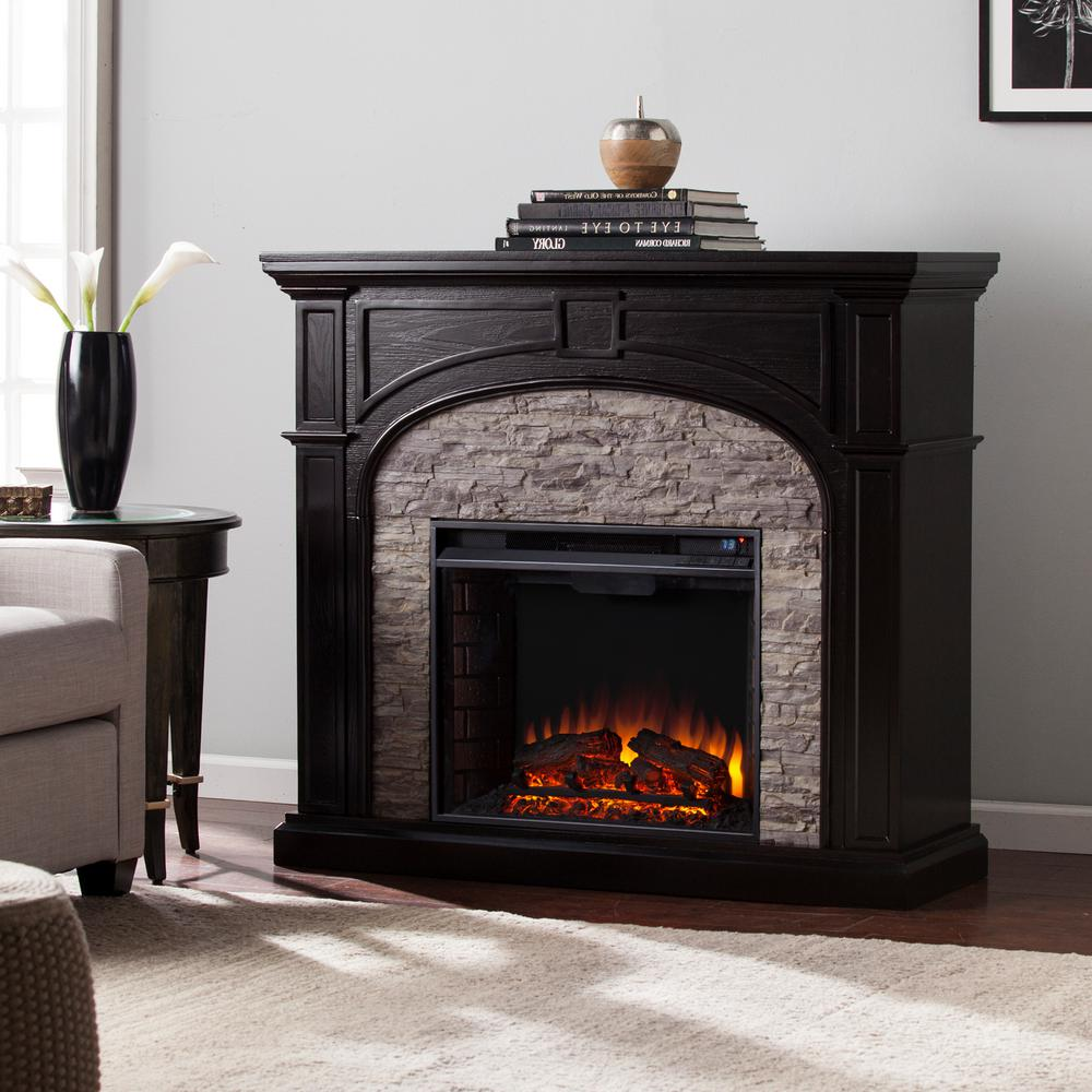 Granby 45.75 in. W Electric Fireplace in Ebony with Gray Stacked