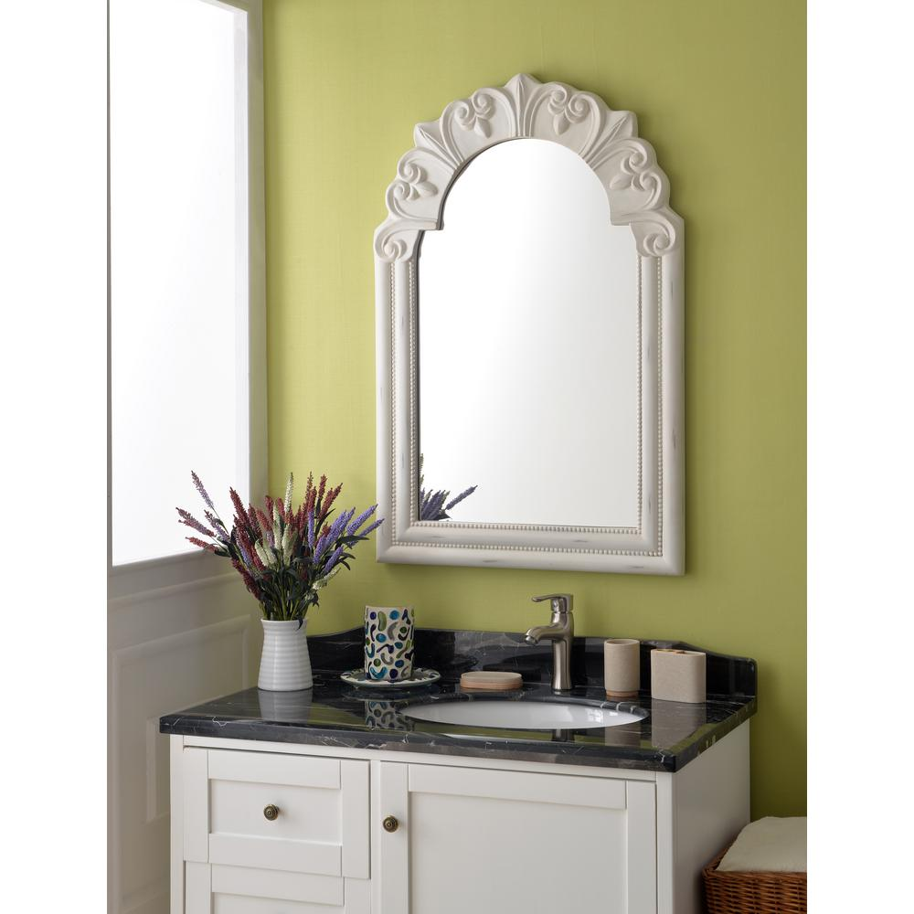 Kenroy Home Parliament Rectangular Distressed White Dresser Wall Mirror 60235 The Depot
