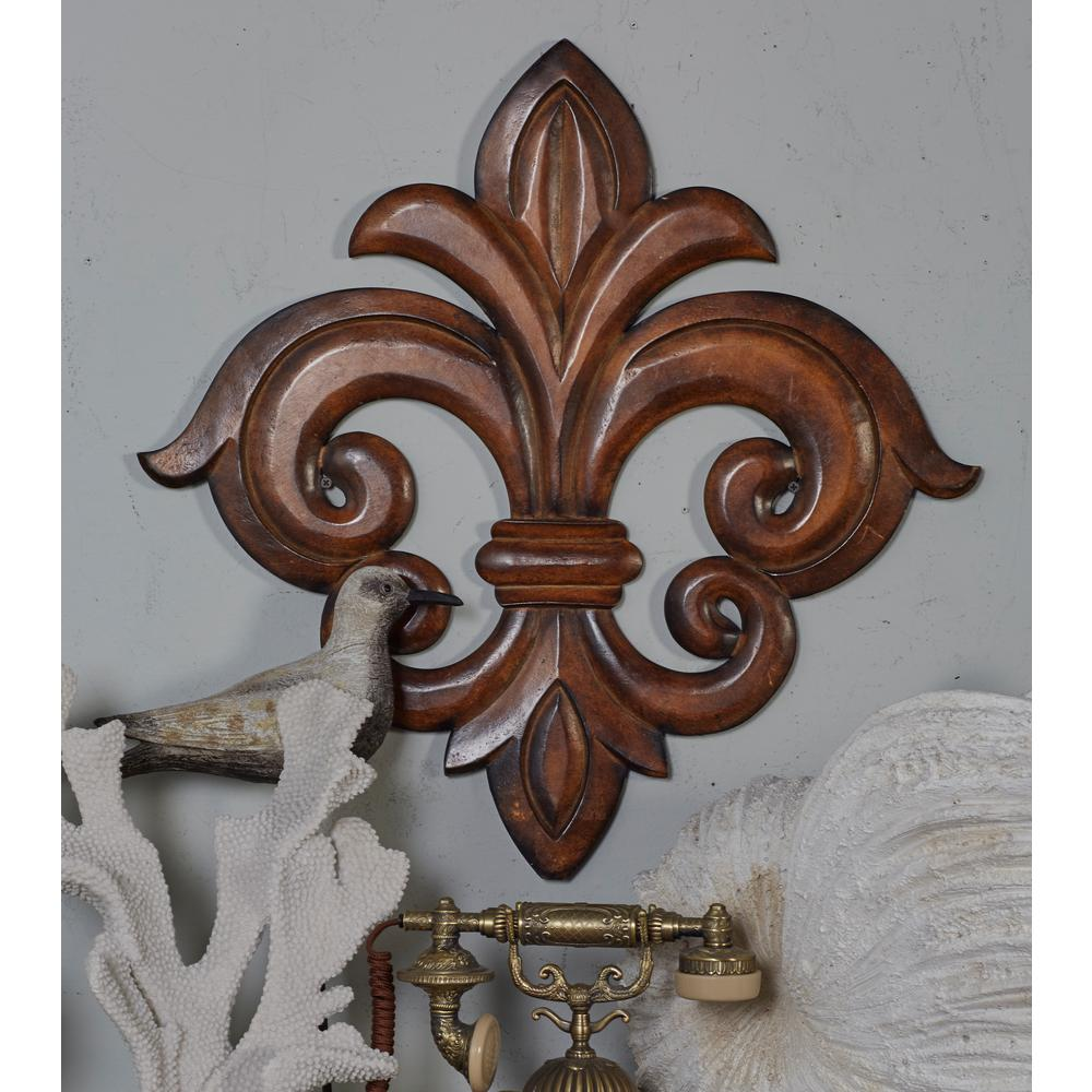 Litton Lane French Inspired Carved Fleur De Lis Wooden Wall Art