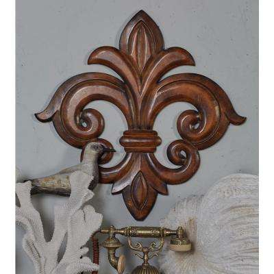 French-Inspired Carved Fleur-de-Lis Wooden Wall Art