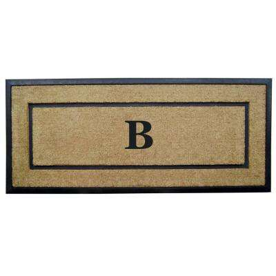 DirtBuster Single Picture Frame Black 24 in. x 57 in. Coir with Rubber Border Monogrammed B Door Mat