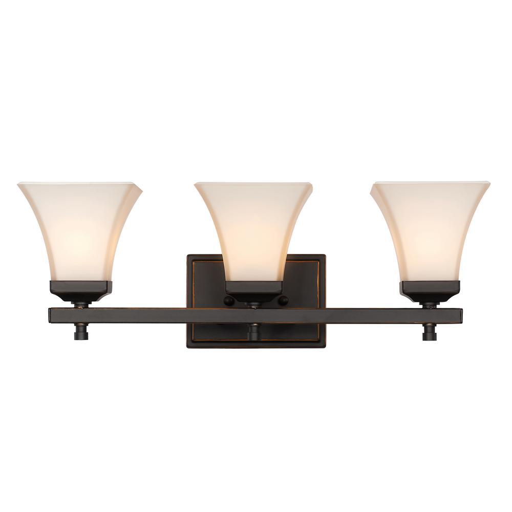 Castelle 3-Light Rubbed Oil Bronze Bath Light
