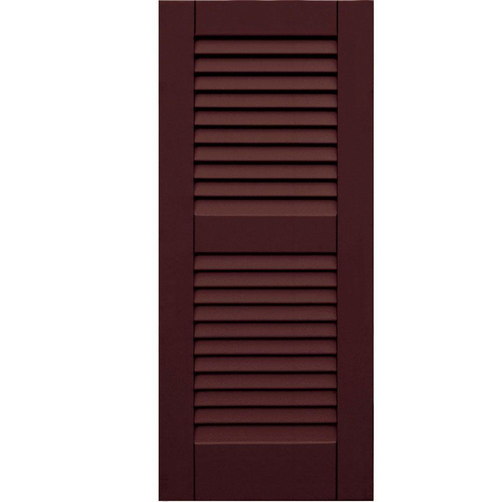 Winworks Wood Composite 15 in. x 35 in. Louvered Shutters Pair #657 Polished Mahogany
