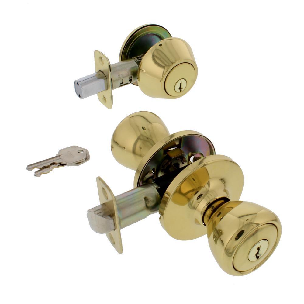 Ultra Security 83969 Polished Brass Tulip Knob Entry Door Lock Deadbolt Set