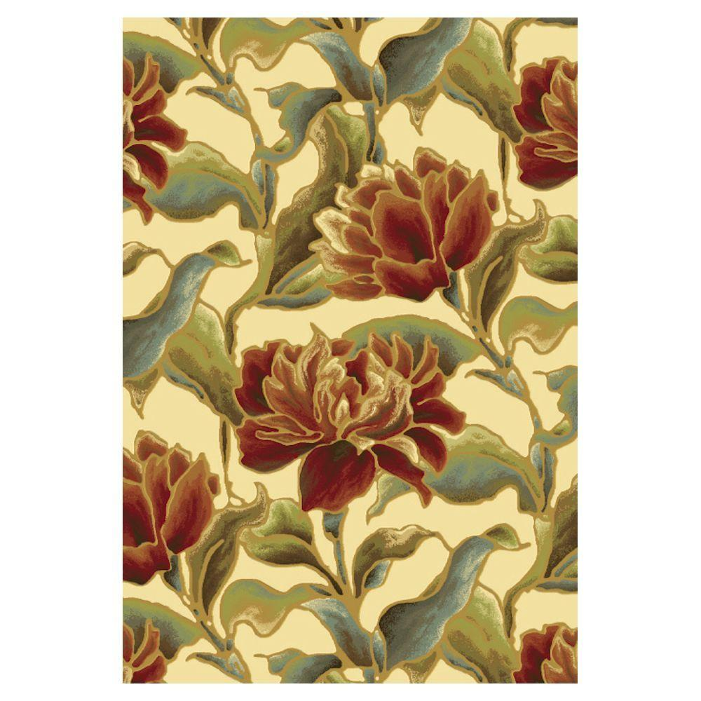 Spacious Florals Ivory 5 ft. 3 in. x 7 ft. 7